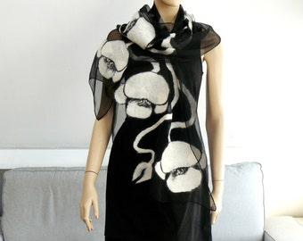 Felted scarf Nuno felt shawl silk and wool , Black and white
