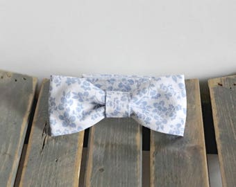 Light Blue Newborn Baby Bow Tie with Flowers Photo Prop, Child Bow Tie with Velcro Closure, Any size, Made To Order
