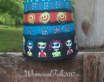 Halloween Lampshade Sugar Skulls Day of The Dead Hand Painted