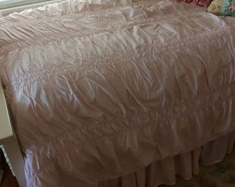 3 piece Simply shabby chic TWIN pale pink duvet cover, bedskirt and vintage pillow sham