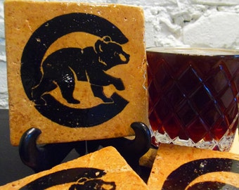 Handmade Stone Sports Coaster - Chicago Cubs