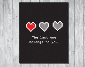 "Valentine's Day GIft - Boyfriend Gift - Video Game Lover Gift - Husband Gift - Video Game Valentine - Digital Download 8x10"" DIY Printable"