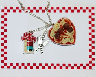 Italian Food Spaghetti Necklace - Kawaii Necklace - Spaghetti Bolognese Pendant - Italian Food Jewelry - spaghetti and meatballs Pendant