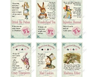 Alice in Wonderland 6 labels stickers party decoration glossy laminated cut and ready to use