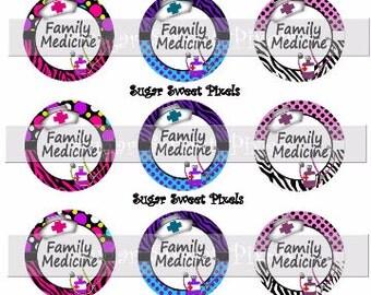 INSTANT DOWNLOAD Cute Nurse Medical Family Medicine 1 inch circle Digital Bottle cap Images