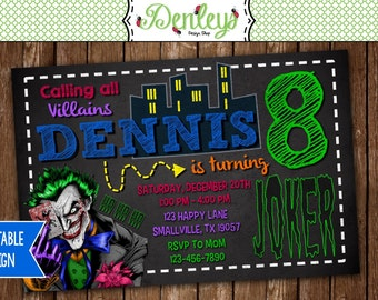Joker Villian Birthday Invitation (JK03)
