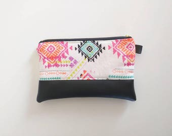 Bright neon tribal Aztec coin purse with black faux leather