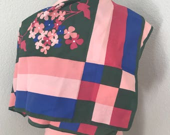 70s pink green and blue retro square print floral scarf size large