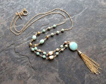 Extra Long Amazonite and Aqua Terra Jasper Gemstone Rosary Style Tassel Necklace with gold finish Aqua blue wire wrapped necklace