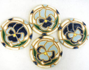 Mosaic Tile Coasters PANSY  Handmade Ceramic Tile Coasters Stoneware Floral Art Art Blue Tones Set of 4