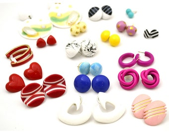 18 Pair Bright Colorful Lot of Vintage Pierced Earrings Pierced 1960s 1970s 1980s