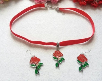 Belle Inspired Jewelry. Set of Red Rose Necklace and Earrings