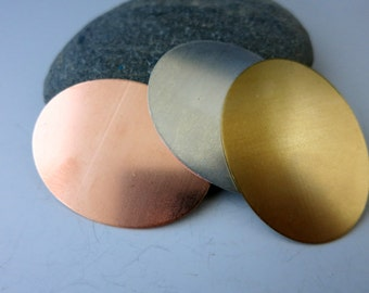 """Oval Stamping Blanks, 1 x 1 1/2"""", 3 Metal Discs, Brass, Copper or Aluminum, You get 3, Ready to Ship!"""