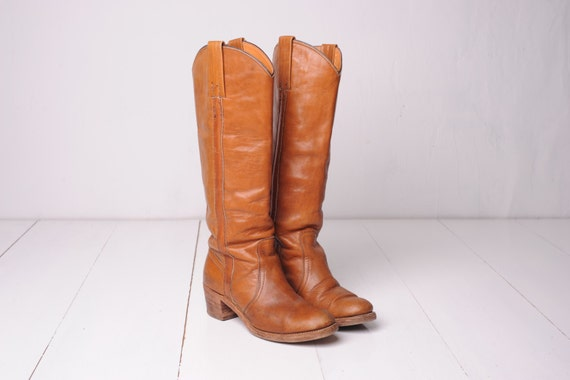 Vintage Frye Brown Leather Campus Boots, Made in USA, Womens 7 / ITEM329
