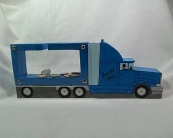 Moving Sale - Semi truck and trailer wooden bank