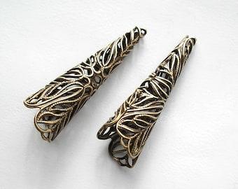 4 Pieces Antiqued Brass Long Filigree Bead Caps