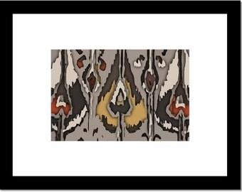Abstract Ikat Wall Art Print, Brown, gray and rust, Tribal Art