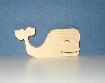 Whale Free Standing Wooden Unfinished Handcut - Nursery Decor - Childs Room - Nautical Gift - Marine Life - Nursery Gift  - DIY Nautical