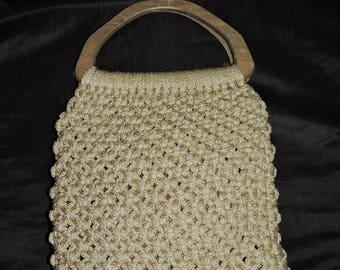 Vintage 70s Brown Macrame Purse Wood Handles Satchel Handbag Hippie Boho Natural