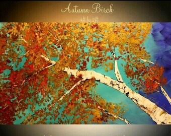 "SALE Oil Landscape painting Abstract Original Modern 48"" palette knife Birch Trees oil  impasto oil painting by Nicolette Vaughan Horner"