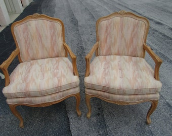 A BERGERE PAIR / Lovely Pair Of Solid Wood Bergere Chairs / Clean Upholstery / Floral Top And Arm Carving / Paris Apt.