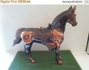 On Sale 1960's Vintage Horse Collectible, Copper Metal Large Figurine, 13 inches Long, Mid Century Modern Home Decor