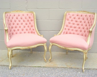 French Provincial Parlor Chairs Conversation Chairs Italian Boudoir Cottage Paris Loft - Set of Two - Parisian Chic - Pink Hollywood Regency