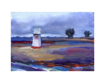 5x7 inch Print of Original Oil Painting of an Old Water Tower Near Selinas, California
