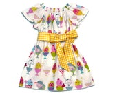 Girls Easter Peasant Dress Egg Cups Yellow Gingham Sash Short Sleeve Size 3-6 mo, 6-12 mo, 18 mo, 2T, 3T, 4T, 5, 6, 8