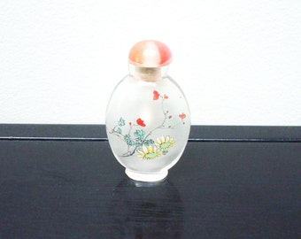 Vintage Snuff Bottle - Vintage Oriental Glass Snuff Bottle - Chinese - Japanese - Hand Painted - Mid Century