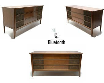 VintedgeCo™ - TURNTABLE READY Series™ - Mid Century Modern Vintage Stereo Console Wood Cabinet