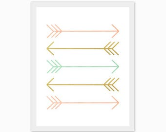 peach, gold and mint arrows, print, baby girl's nursery art, children's room, watercolor, love, make it a set of 3, mix and match, customize