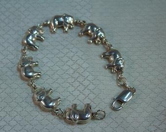 Sterling Puffed Elephant Link Bracelet