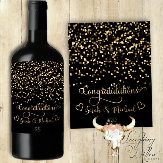 Wedding Engagement Wine Label Pdf: Congratulations Wine Label Engagement Gift Wine Label Wedding
