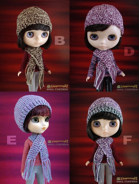 1pc hand knitted hat and scarf set for: Blythe, Pullip, Taeyang...