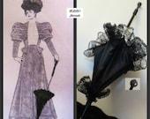 "Victorian ""WALKING STICK"" PARASOL Umbrella in Elegant Black Satin with Lace Ruffle and Decorative Knob Civil War Wedding Costume Reenactment"