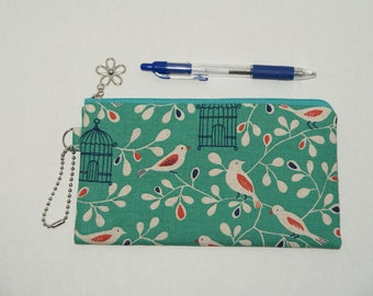 """Padded Zipper Pouch / Pencil Case / Cosmetic Bag Made with Cotton Linen Fabric """"Bird Cage"""""""