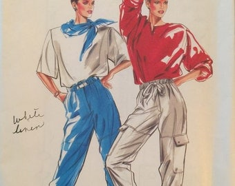 New Look 6223, Size 8-10-12-14-16-18, Misses' Pants Pattern, UNCUT, Drawstring Waist, Gathered Leg, Vintage, Cargo Pants, Casual