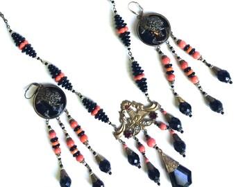Czech Necklace and Earring Set Egyptian Revival Art Nouveau