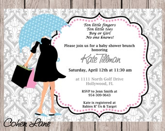 Printable Modern Mom Baby Shower Invitation.  Gender Neutral Baby Shower Invite.  Umbrella Mom Shower Invitation. Pink and Blue Invite.