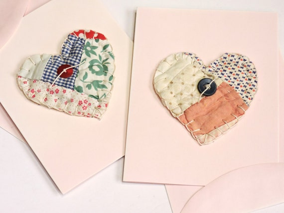 Patchwork Heart Cards,Handmade Unique Valentines Day Greeting,Wedding,Baby Gift,All Occasion Vintage Quilted Heart Notecards itsyourcountry