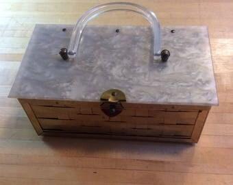 Vintage basket weave metal purse