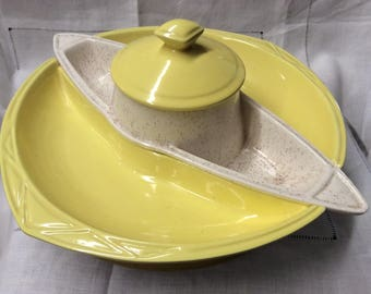 Retro 1950's Snack Lazy Susan Sunshine Yellow Dip Set Chip and Dip