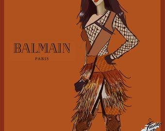 Balmain Fashion Illustration