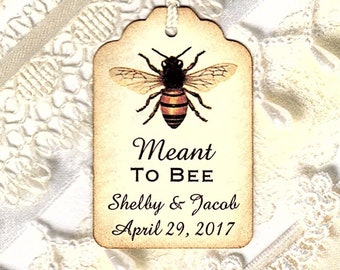 100 Meant to BEE Personalized Handmade Tags-Wedding Wish Tags-Honey jar tags-Favor tags
