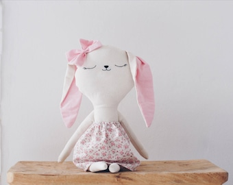 Benita // handmade bunny doll // flowered dress // gifts for kids // softie - plushie // kids room decoration