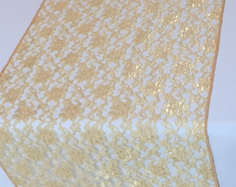 """Gold Lace Table Runner Gold Wedding Table Runner - Dark Gold -  14"""" WIDE - SELECT A SIZE For Length - more colors available"""