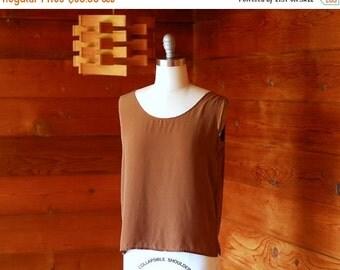 20% OFF FALL SALE / vintage brown silk top / size medium