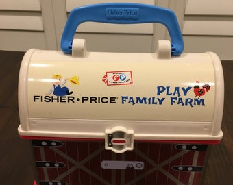Fisher Price Toy vintage lunch box carry case little people play farm