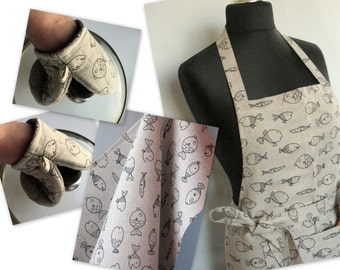 Linen Kitchen kit Utility Apron Womens Aprons for women Valentines Day Easter Apron Towels Oven Mit Natural Gray Black Fish